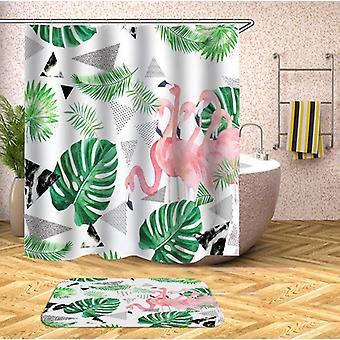 Flamingo ja trooppiset lehdet suihku verho
