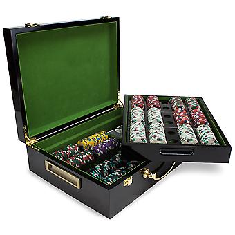 500ct Claysmith Poker Knights chip set in Hi-Gloss hout geval