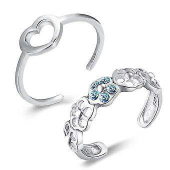 925 Sterling Silver Set Of 2 Toe Rings-infinity & Crystal