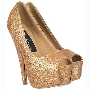 Onlineshoe Sparkly Gold Glitter Peep Toe Stiletto zapatos de tacón alto plataforma oculta - oro