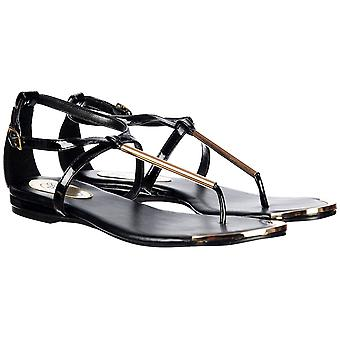 Onlineshoe Toe Post Gladiator Sandalia Plana - Barra de Oro y Placa de los pies - Negro