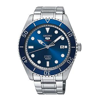 Seiko 5 Sports Silver Steel Blue Dial Automatic Men's Watch SRPB89K1