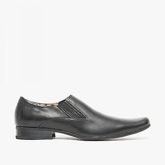 Front Enzo Ii Mens Leather Slip On Pointed Shoes Noir