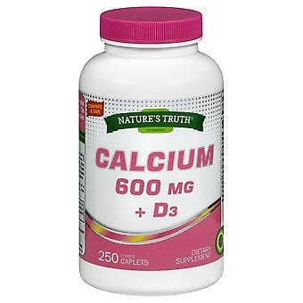Nature's truth calcium 600 mg + d3, dietary supplement, caplets, 250 ea