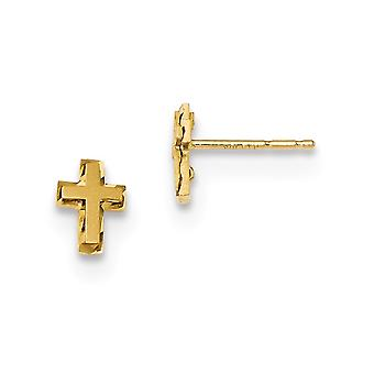 5.25mm 14k Madi K Satin and Polished Sparkle Cut Religious Faith Cross Post Earrings Jewelry Gifts for Women