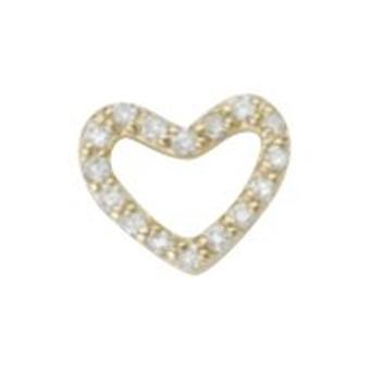 925 Sterling Silver 14k Guldpläterad single mate CZ Cubic Zirconia Simulerad Diamond Love Heart Stud Örhängen Smycken Gif