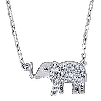 925 Sterling Silver Mens Women CZ Cubic Zirconia Simulated Diamond Elephant Necklace 17 Inch Measures 10x17.7mm Wide Jew