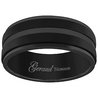 Titanium Black Mens Grooved Center Ridged Edge Comfort Fit Wedding Band 8mm Jewelry Gifts for Men - Ring Size: 8 to 13