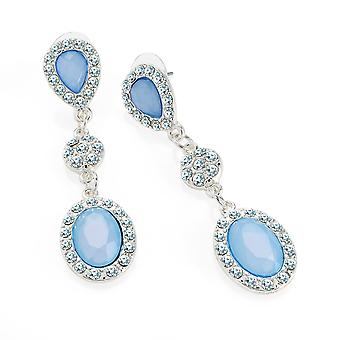 Silver Colour Crystal Blue Bead 5.5cm Drop Earrings