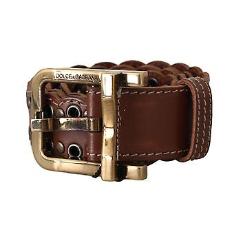 Dolce & Gabbana Brown Leather Studded Gold Buckle Belt