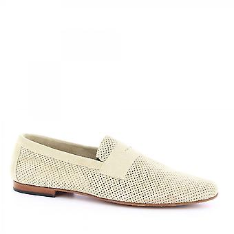 Leonardo Shoes Men's handmade loafers shoes in sand openwork suede leather