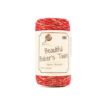 20m Red & Gold Sparkle Natural Bakers Twine for Crafts & Gift Wrapping