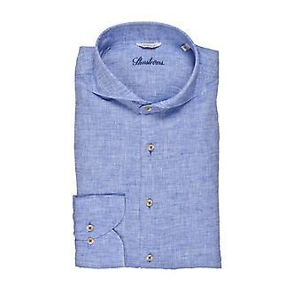 Stenstroms Fitted Linen Long Sleeved Shirt Blue