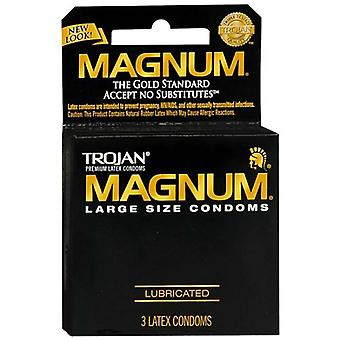 Trojan magnum lubricated latex condoms, 3 ea