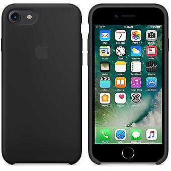 Originalförpackning Apple Silikon Microfiber Cover Cover Case för iPhone 8 / 7 / SE 2020 - Svart
