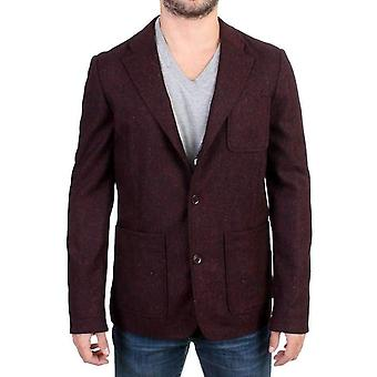 Bordeaux Wool Blend Two Button Blazer -- SIG1461125