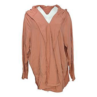 Anybody Women's Plus Sweater Loungewear Cozy Hooded Cardigan Pink A349790