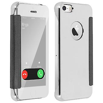 Flip Case, Mirror Case for Apple iPhone 5/5S/SE, see through front flip - Silver
