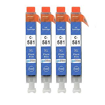 4 Cartucce inchiostro blu foto per sostituire Canon CLI-581PB compatibile/non OEM da Go Inks