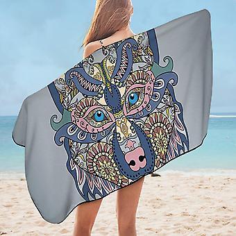 Oriental Wolf Microfiber Beach Towel