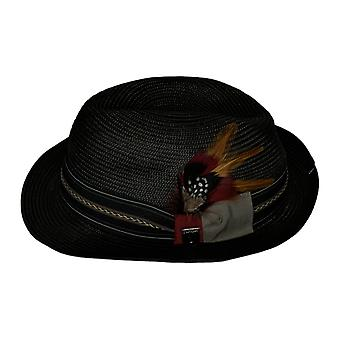 Stacy Adams Classic verfraaid Fedora Basic Black Hat