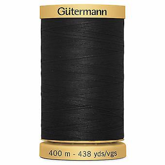 Gutermann 100% Natural Cotton Thread 400m Code couleur main et machine - 5201 Noir