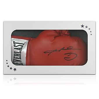 Sugar Ray Leonard Signed Red Boxing Glove. In Gift Box