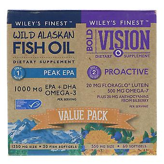 Wiley&apos&s Finest, Bold Vision, Proactive & Wild Alaskan Fish Oil, Peak EPA, Valeur