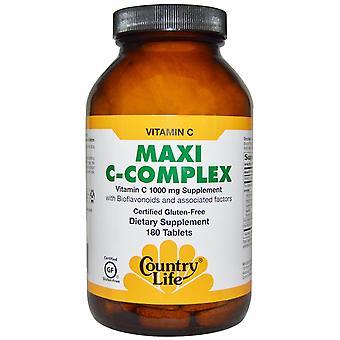 Country Life, Maxi C-Complex, 1 000 mg, 180 comprimés