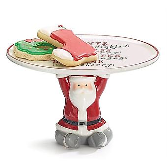Christmas Santa Claus Pedestal Cookie Plate With Message Christmas Gifts