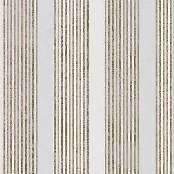 Marburg Wallcoverings Marburg Rae Stripe Pattern Ivory Gold Wallpaper Marble Motif Modern Embossed Metallic