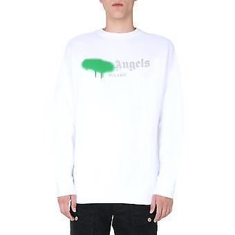 Palm Angels Pmba001f20fle0020155 Homme-apos;s White Cotton Sweatshirt