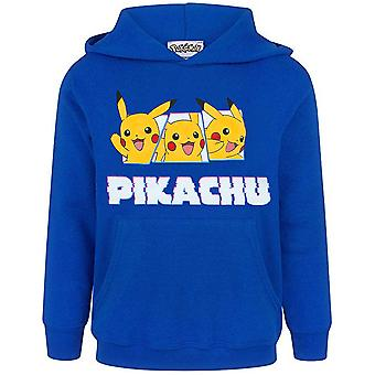 Pokemon Pikachu Hoodie For Boys | Children's Pikachu Hooded Jumper | Blue Pokemon Pikachu Sweatshirt for Kids | Long Sleeves, Hoodie & Handy Pocket | Gamer Gifts For Him & Her | Pokemon Clothing