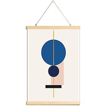 JUNIQE Print - Gouds evenwicht - Abstract en geometrische poster in blauw en roomwit