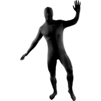 Mens Black Second Skin Suit Novelty Stag Night Fancy Dress Costume