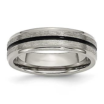 Titanium Enamel Engravable Polished and satin Black Accent 6mm Satin Polished Band Ring  Jewelry Gifts for Women - Ring