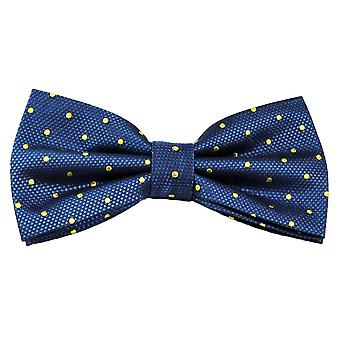 Ties Planet Gold Label Royal Blue & Yellow Polka Dot Silk Bow Tie