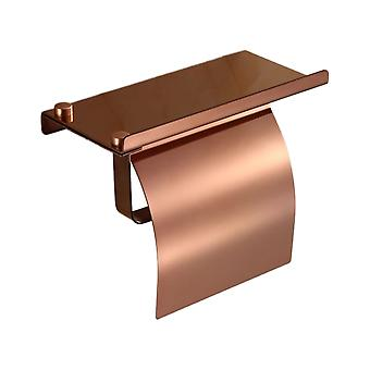 Toilet Paper Holder Stainless Steel 18x9.5x14cm with Shelf Rose gold