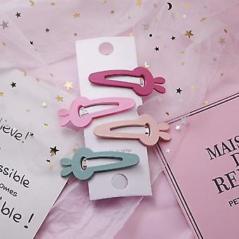 4 Pcs Lovely Star Rabbit Candy Color Girls Hairpins Hair Clip- Kids Headwear