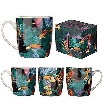 Sammlerstück Porzellan Becher - tropischen Toucan Design X 1 Pack