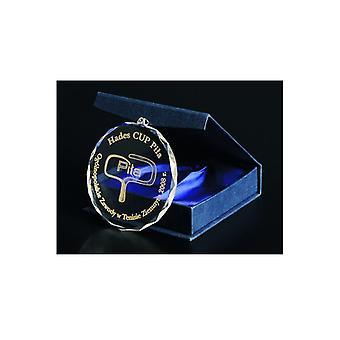 Médaille en verre gravée avec manche + rembourrage avec peinture