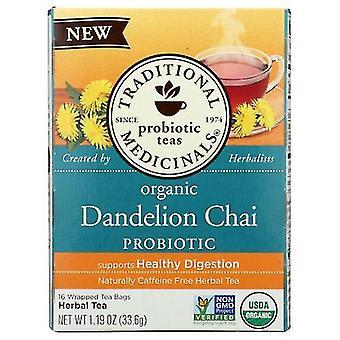 Traditional Medicinals Teas Organic Tea Dandelion Chai Probiotic, 16 Bags
