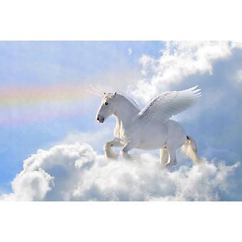 Tapet vægmaleri Pegasus i skyerne