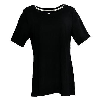 Isaac Mizrahi ao vivo! Mulheres'top Pima Cotton Swing Tunic Black A354986