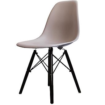 Charles Eames Style Light Grey Plastic Retro Side Chair Black Wooden Legs