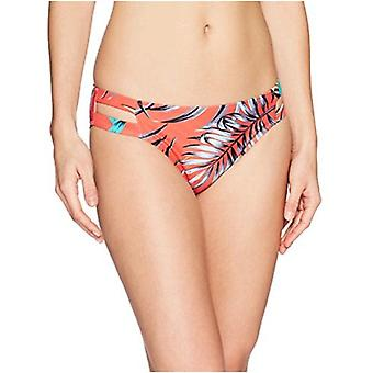 Brand - Mae Women's Swimwear Double Strap Hipster Classic Coverage Bikini Bottom,Tropical Leaf Print,X-Large