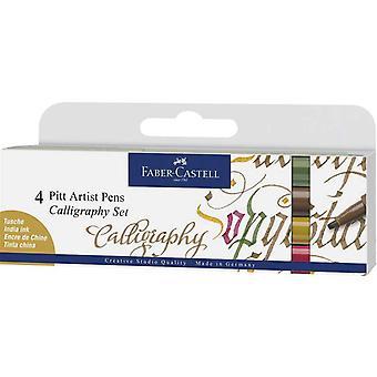 Faber Castell 4 Pitt Artist Pens Calligraphy Colour Set