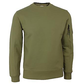 C.p. company men's olive green diagonal raised fleece sweatshirt
