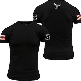 نخر نمط USN - البحرية جاك العلم الأساسية تي شيرت - أسود