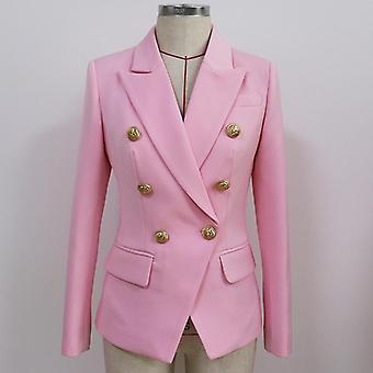 Classic Designer Blazer Jacket Women's Slim Fitting Metal Lion Buttons Double